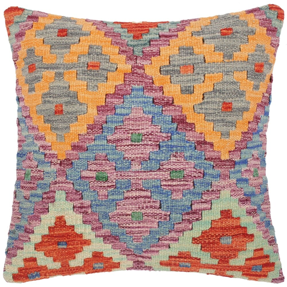Shabby Chic Chieko Hand-Woven Turkish Kilim Pillow -18 in. x 18 in. (Polyester - 18 in. x 18 in. - Accent - Blue - Single)