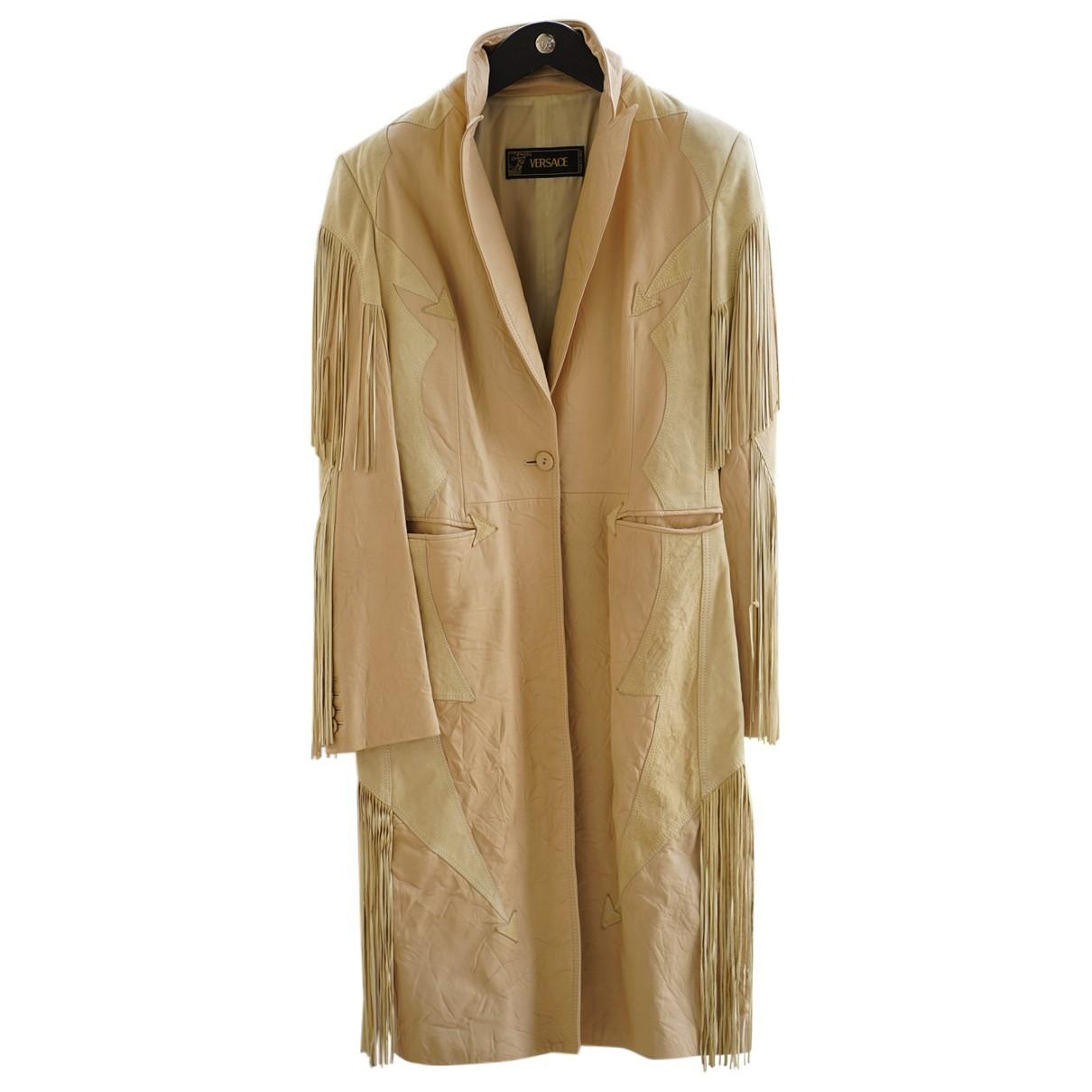 Versace - Manteau   pour femme en cuir - beige