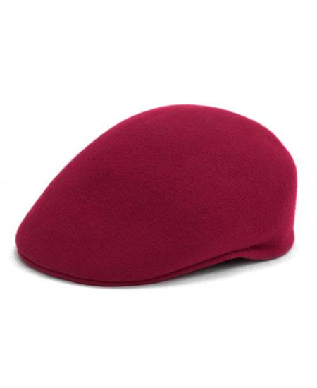 Men's Classic Wool Light Burgundy English Flat Cap Hat