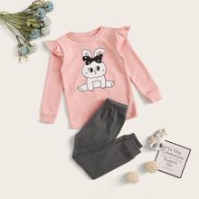 Kleinkind Maedchen T-Shirt mit Hase Muster, Raffung und Jogginghose