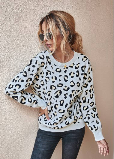 Trendy Leopard Keyhole Long Sleeve Back Sweater - M