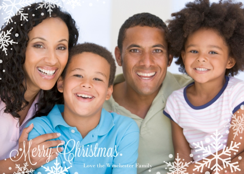 Christmas Photo Cards 5x7 Folded Cards, Premium Cardstock 120lb, Card & Stationery -Snow-frosted Windowed Folded