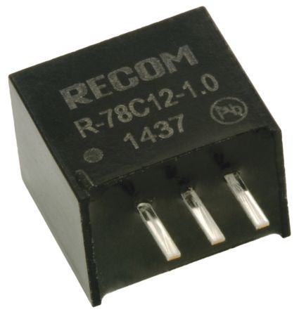 Recom Through Hole Switching Regulator, 12V dc Output Voltage, 15 → 42V dc Input Voltage, 1A Output Current