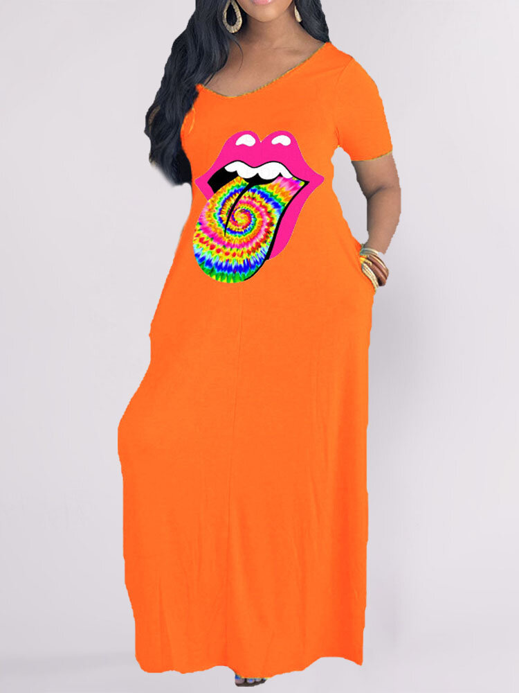 Funny Mouth Print Short Sleeve Plus Size Dress