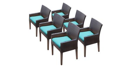 Barbados Collection BARBADOS-TKC097b-DC-3x-C-ARUBA 6 Dining Chairs With Arms - Wheat and Aruba
