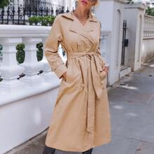 Notch Collar Raglan Sleeve Pocket Side Double Button Trench Coat