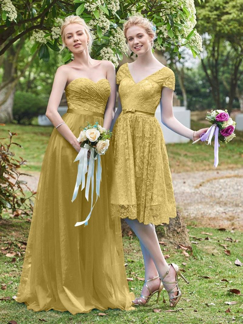 Ericdress Short Sleeves Lace Knee Length Bridesmaid Dress
