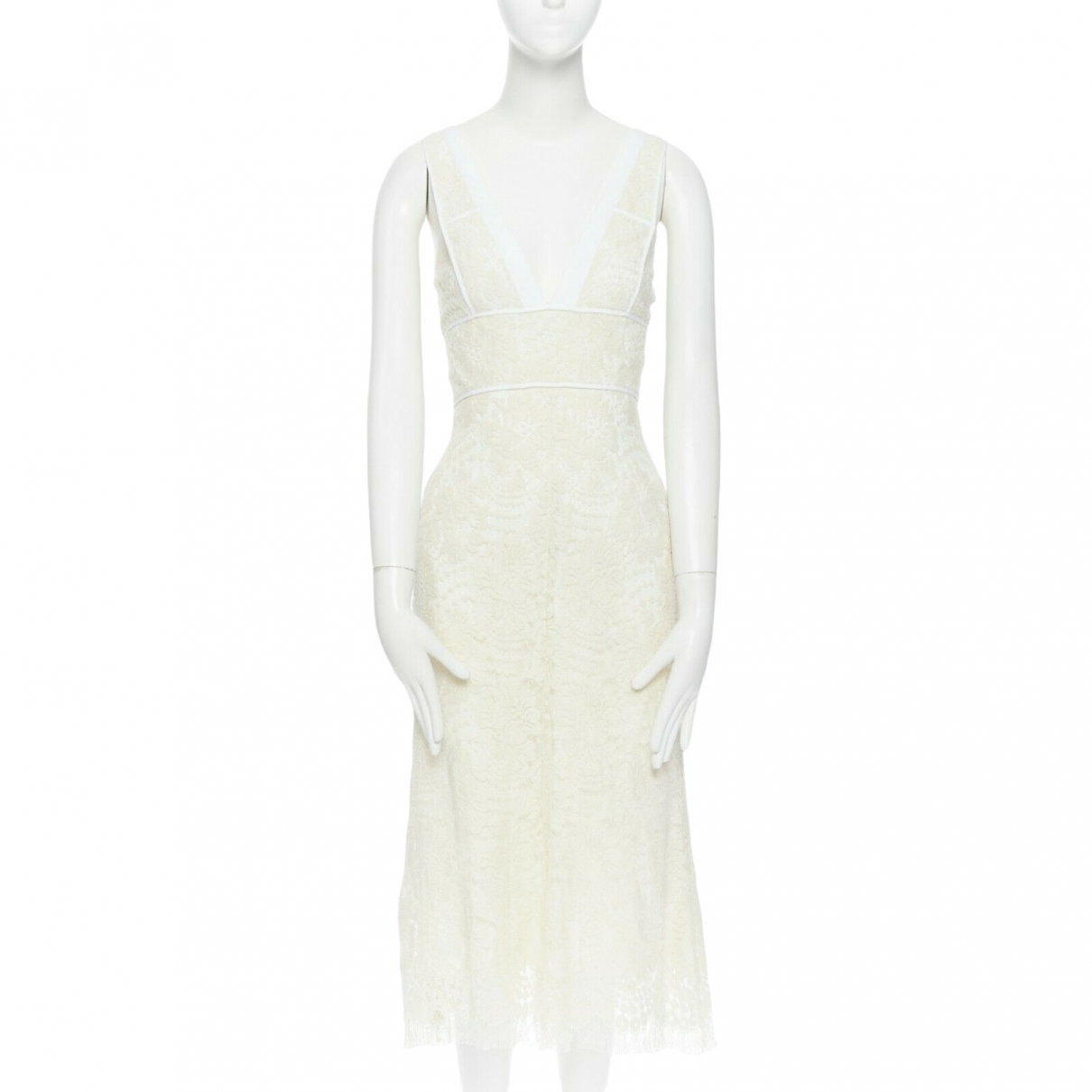 Victoria Beckham \N Ecru Cotton dress for Women 12 UK