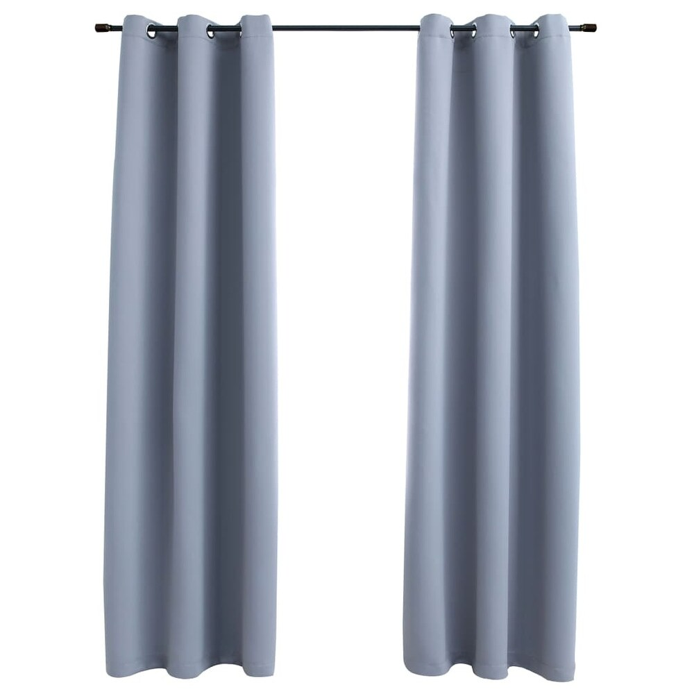 vidaXL Blackout Curtains with Rings 2 pcs Gray 37