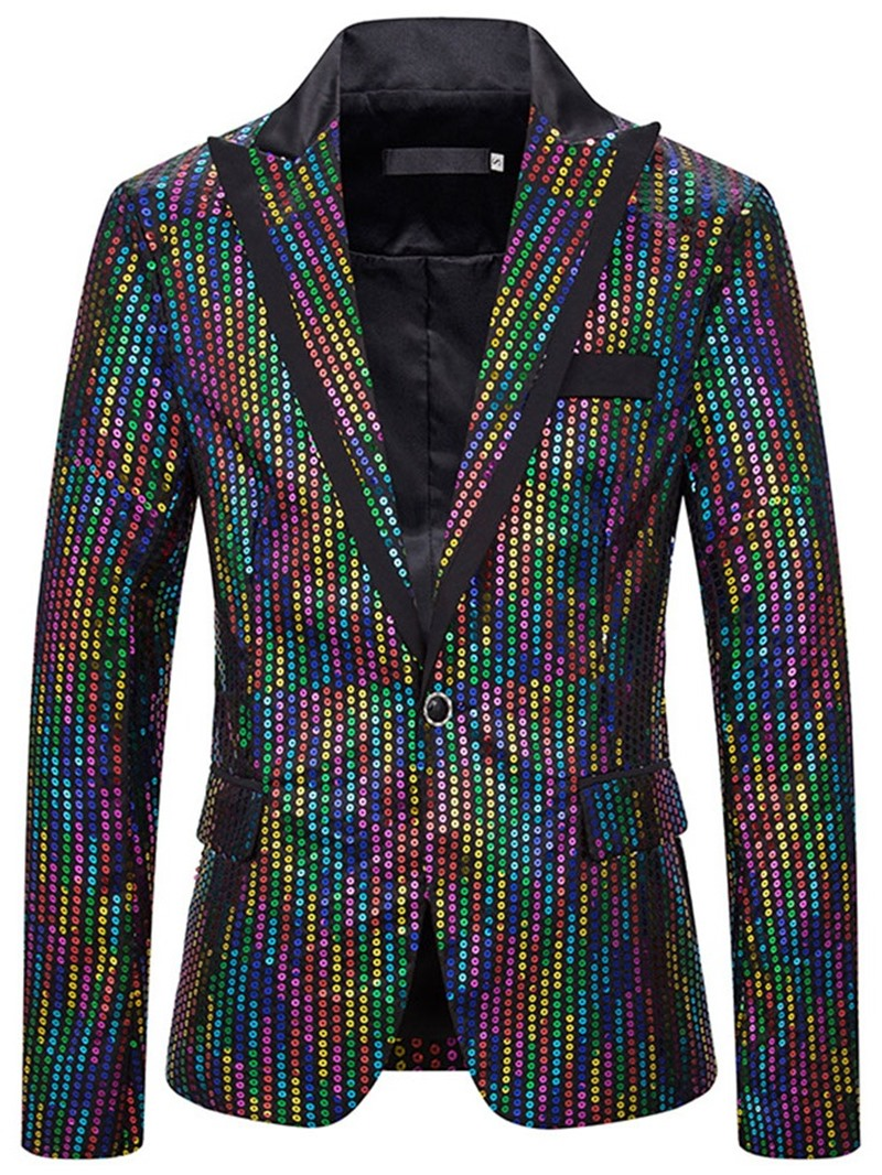 Ericdress Notched Lapel Casual Sequins Mens Leisure Blazers