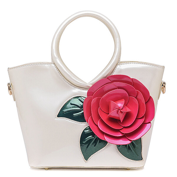 Casual Peal Patent Leather Coloful Flower Sweet Lady's Handbag Crossbag
