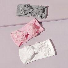 3pcs Baby Lace Bow Decor Headband