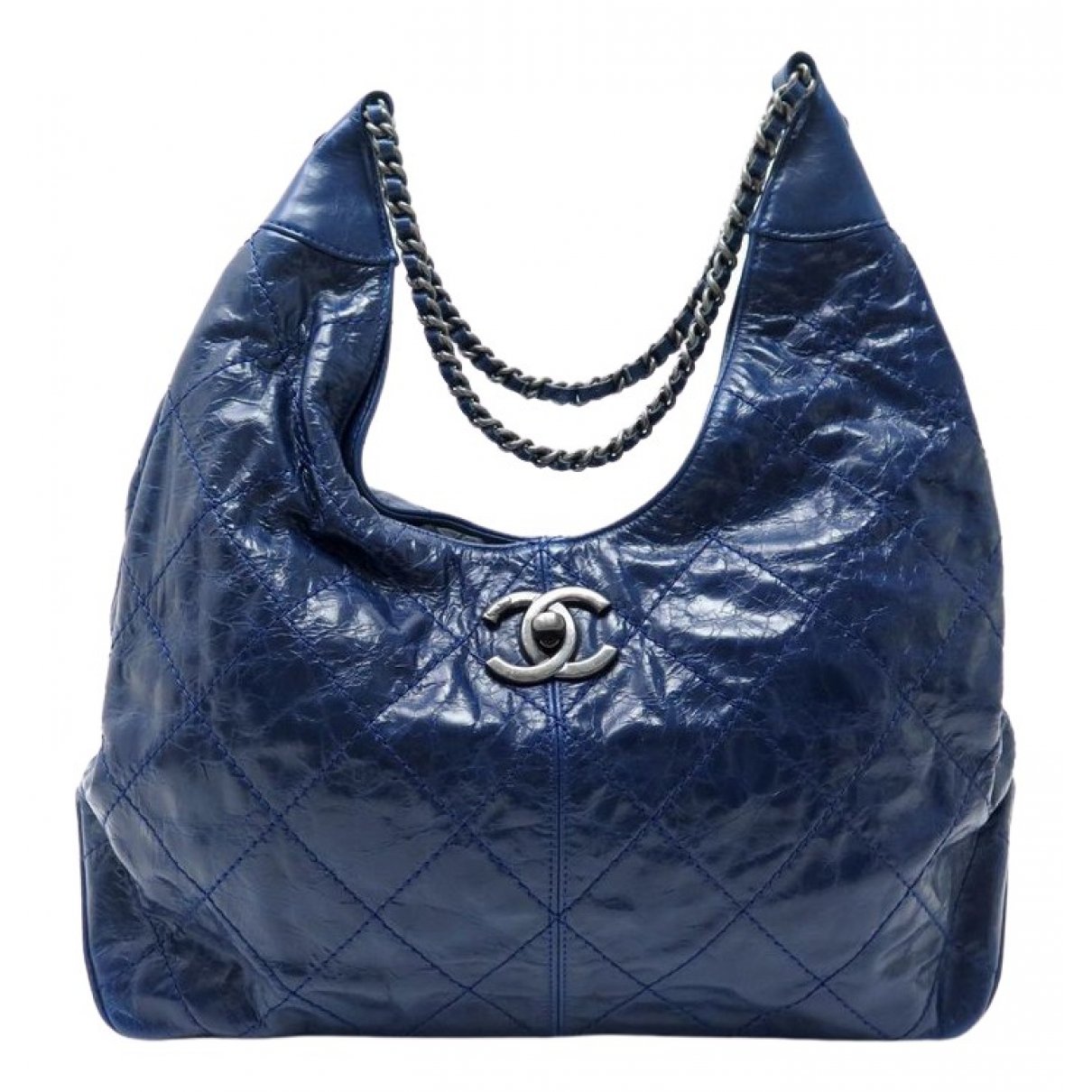 Chanel - Sac a main   pour femme en cuir verni - bleu