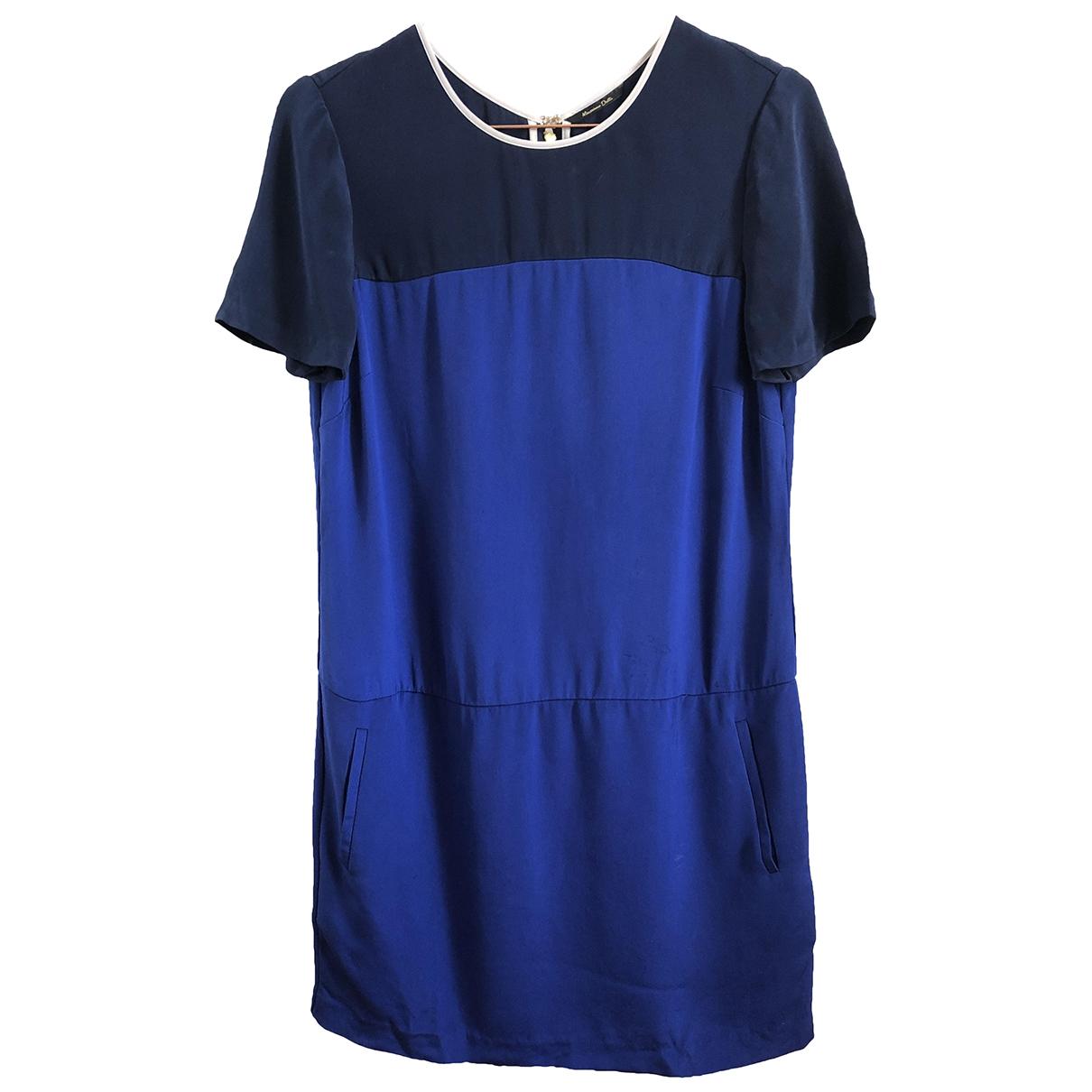 Massimo Dutti \N Kleid in  Blau Seide