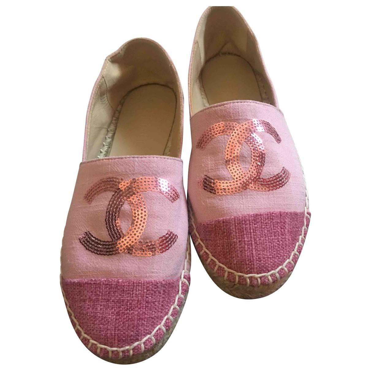 Chanel - Espadrilles   pour femme en toile - rose