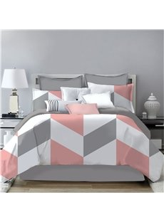 V Shape and Zigzag Graphics Printing 4-Piece Polyester Bedding Sets/Duvet Cover