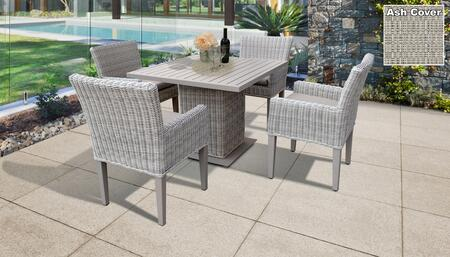 Coast Collection COAST-SQUARE-KIT-4DCC-ASH Patio Dining Set with 1 Table   4 Arm Chairs - Beige and Ash
