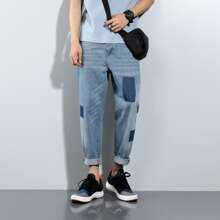Men Colorblock Washed Jeans