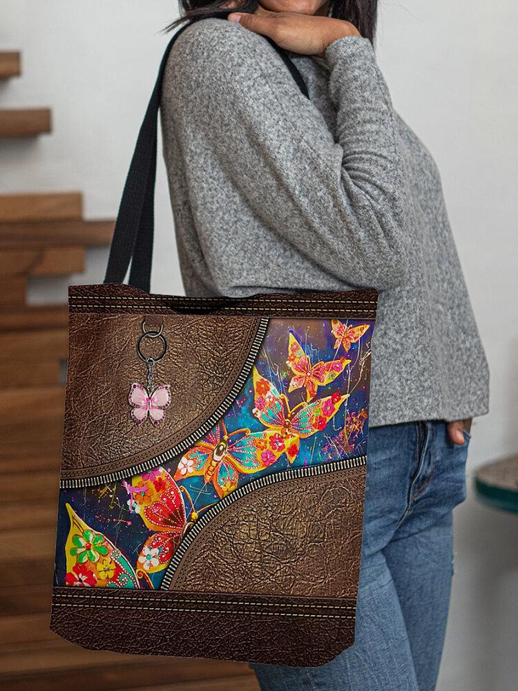 Women Felt Butterfly Print Patchwork Handbag Shoulder Bag Tote