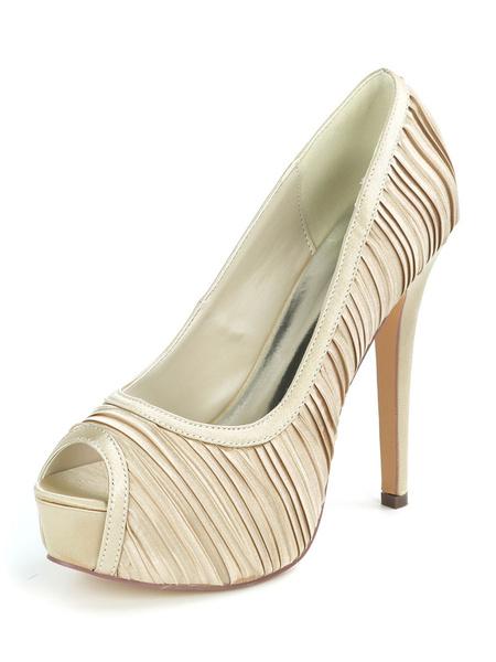 Milanoo Wedding Shoes Satin Royal White Peep Toe Stiletto Heel Womens Low-Tops Shoes