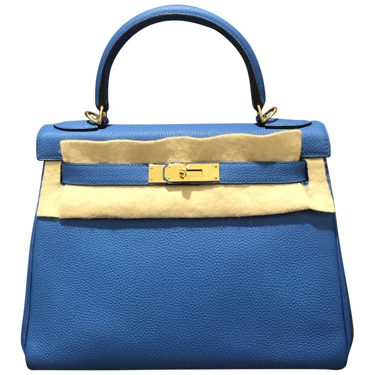 Hermes - Sac a main Kelly 28 pour femme en cuir - bleu