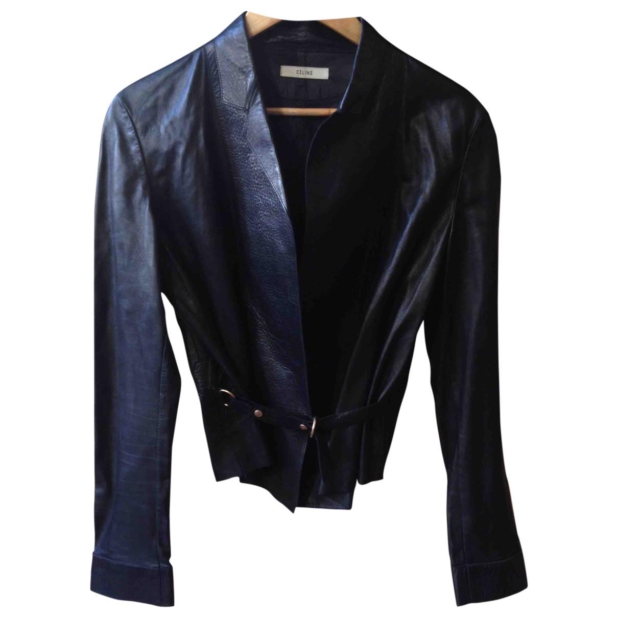 Celine \N Black Leather jacket for Women 42 FR