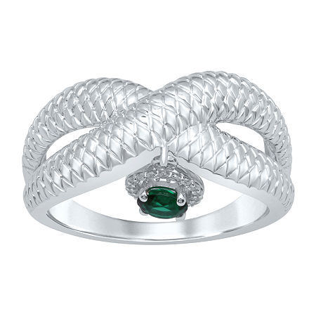 Marvel Universe Fine Jewelry By Marvel Womens Diamond Accent Genuine Green Topaz Sterling Silver Round Marvel Cocktail Ring, 7 , No Color Family