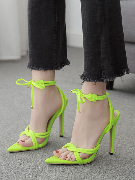 Milanoo Sandalias de tiras negras para mujer Sandalias con correa de tobillo y tacon de aguja en punta