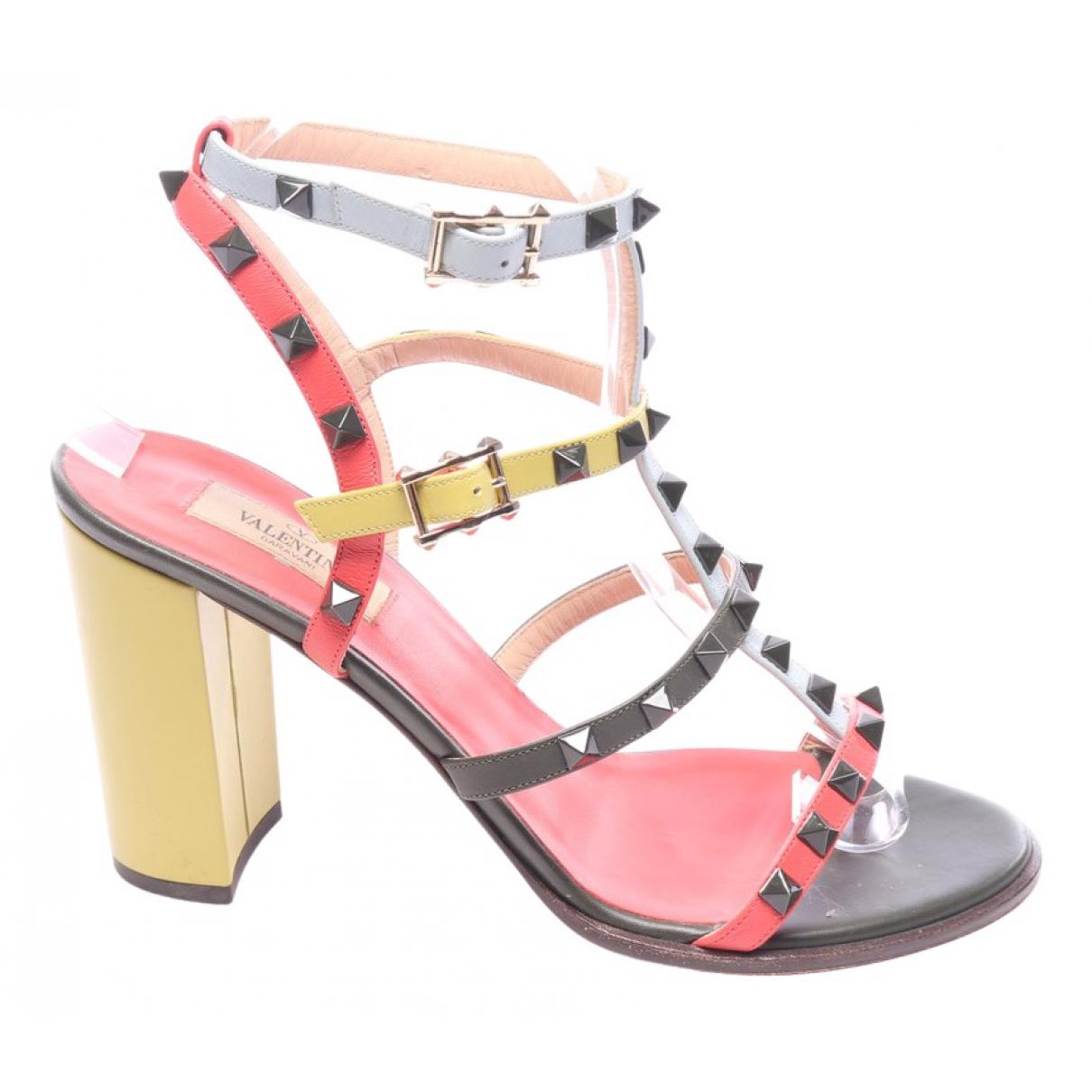 Valentino Garavani Rockstud Multicolour Leather Sandals for Women 41 EU