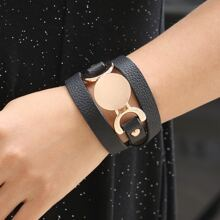 Disc Decor PU Leather Bracelet