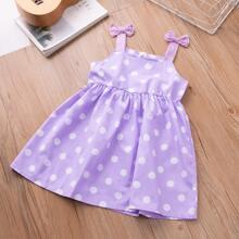 Toddler Girls Bow Detail Polka Dot Cami Dress