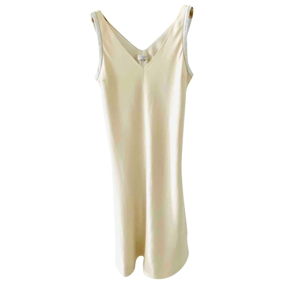Brunello Cucinelli \N Beige Cotton - elasthane dress for Women S International