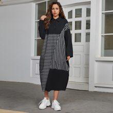 Kleid mit halber Knopfleiste und Streifen Einsatz