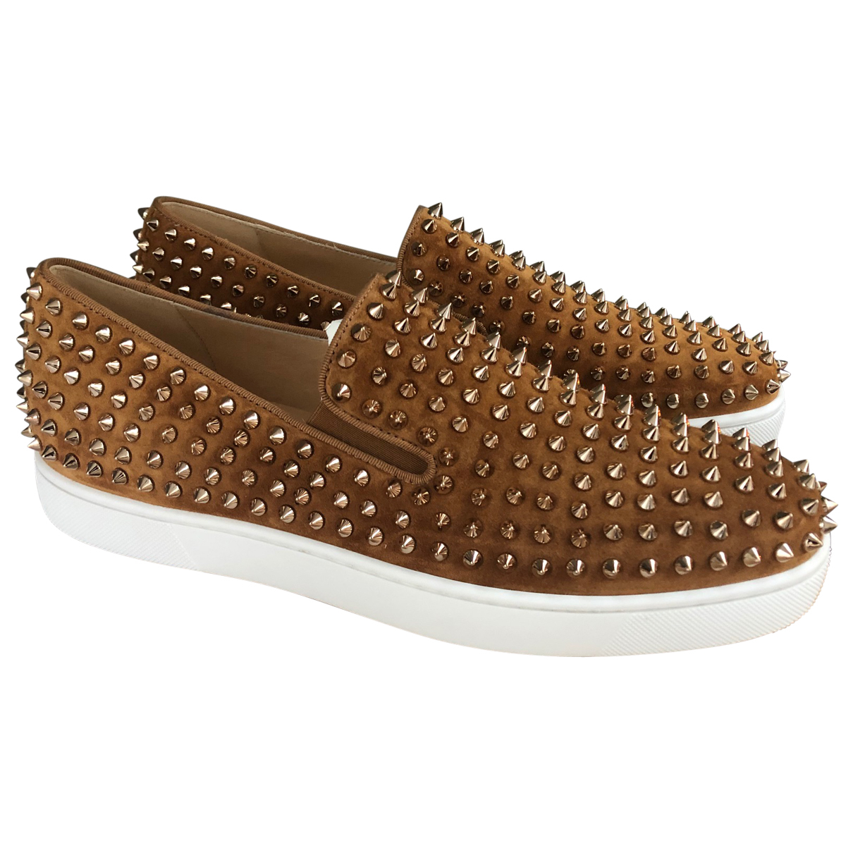 Christian Louboutin Roller Boat Brown Suede Trainers for Men 39.5 EU