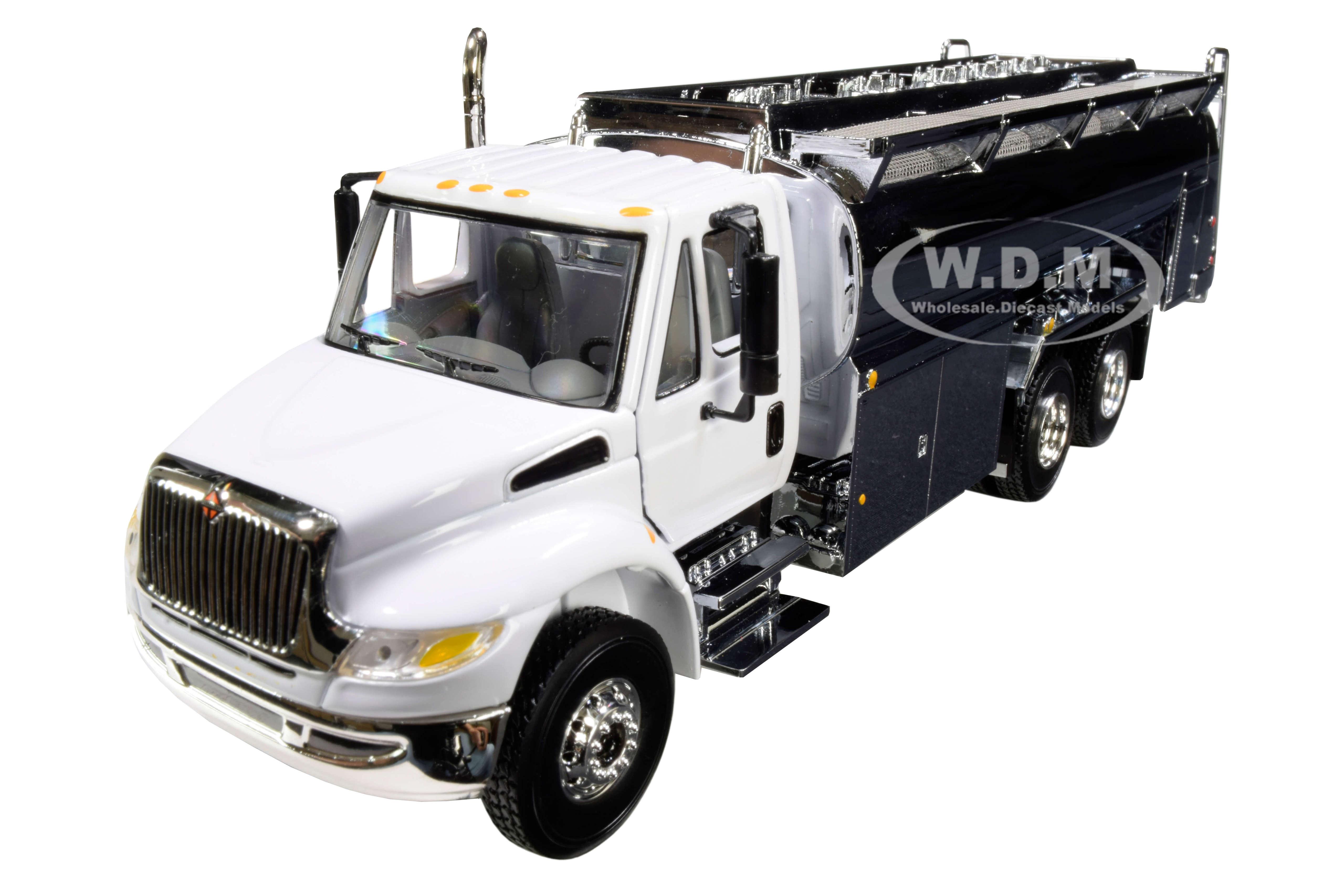 International DuraStar Liquid Fuel Tank Truck White and Chrome 1/50 Diecast Model by First Gear