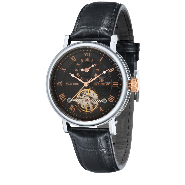 Thomas Earnshaw Men's Beaufort ES-8047-01 Black Leather Hand Wind Dress Watch