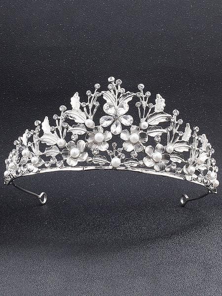 Milanoo Accesorios para el cabello de diamantes de imitacion de tiara de boda de plata para novia