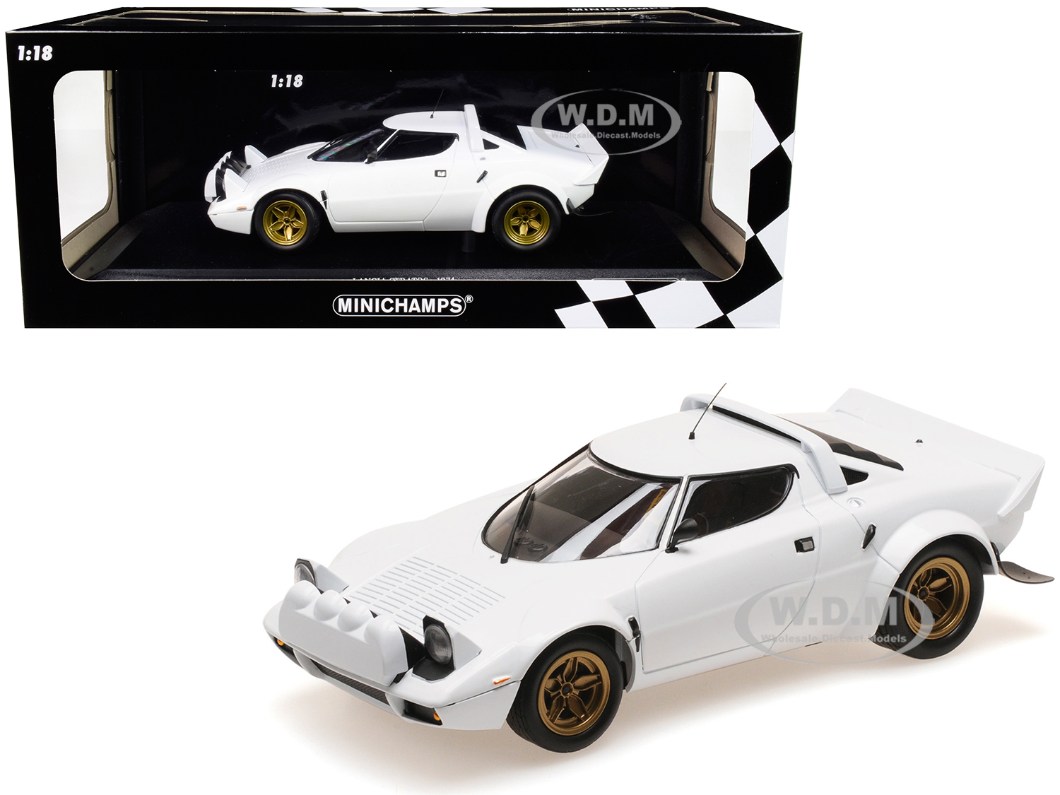 1974 Lancia Stratos White Limited Edition to 300 pieces Worldwide 1/18 Diecast Model Car by Minichamps