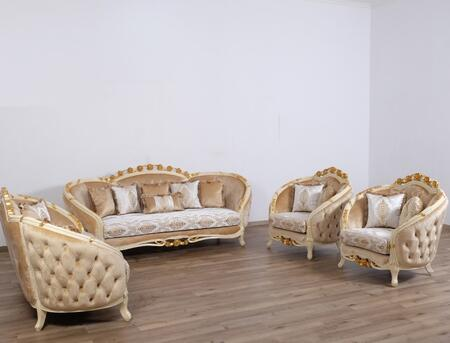 Valentine Collection II Luxury 3 Pieces Set with 1 Sofa + 1 Loveseat + 1 Chair  in Beige and Dark Gold
