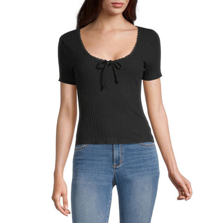 Belle Du Jour Juniors-Womens Scoop Neck Short Sleeve T-Shirt, Small , Black