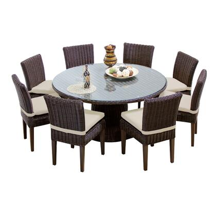 VENICE-60-KIT-8C-BEIGE Venice 60 Inch Outdoor Patio Dining Table with 8 Armless Chairs with 2 Covers: Wheat and