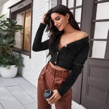 Button Up Crop Fluffy Sweater Coat