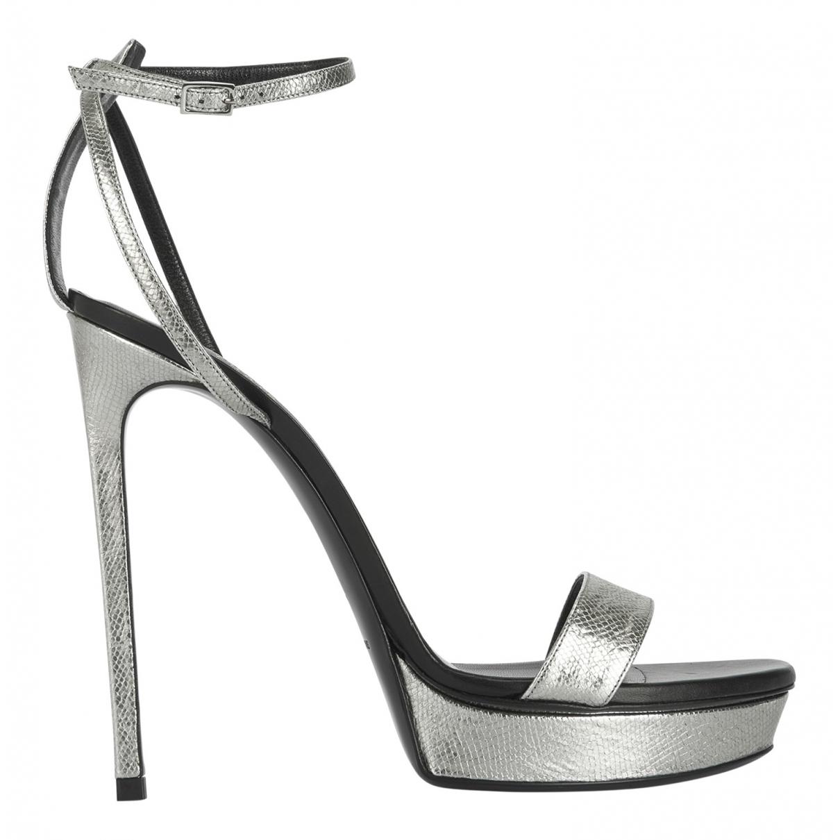 Saint Laurent N Silver Leather Sandals for Women 7.5 UK