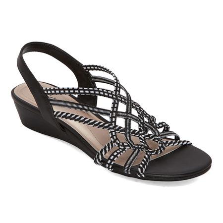 east 5th Womens Reno Wedge Sandals, 5 1/2 Medium, Black