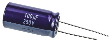 Panasonic 100μF Electrolytic Capacitor 250V dc, Through Hole - ECA2EM101 (5)