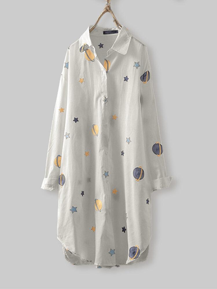 Cartoon Planet Star Print Turn-down Collar Three Quarter Sleeve Shirt For Women