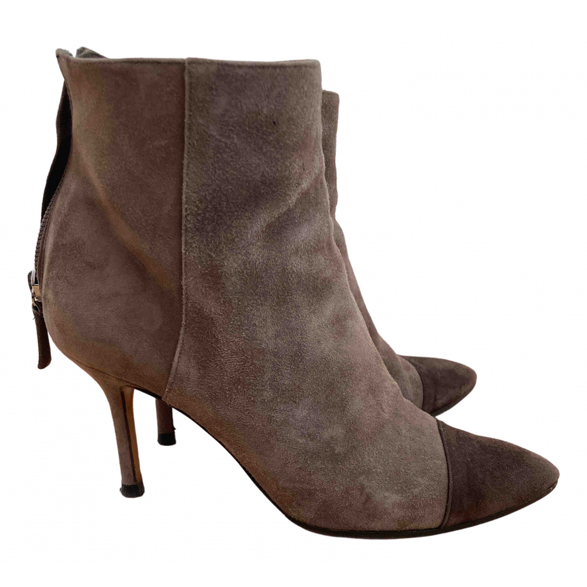 Pollini N Brown Suede Boots for Women 35 EU