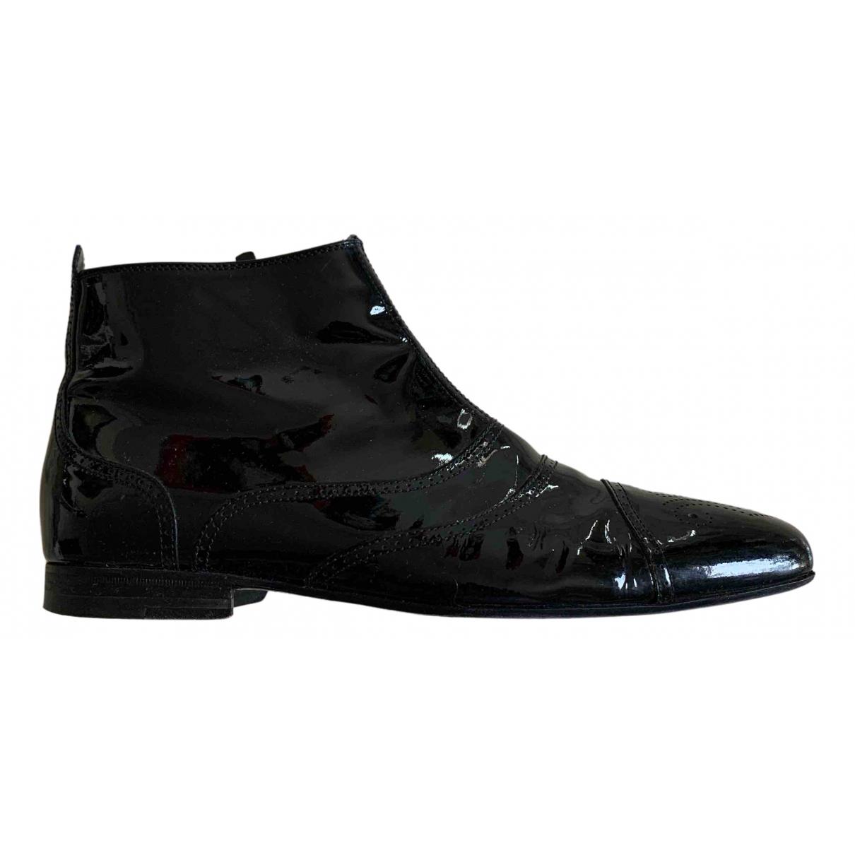 Bottega Veneta N Black Patent leather Boots for Men 42.5 EU