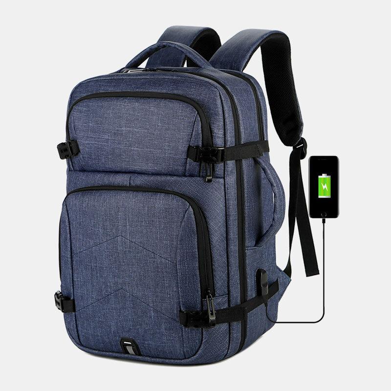 Men USB Charging Large Capacity Multi-pocket Laptop Bag Travel Backpack