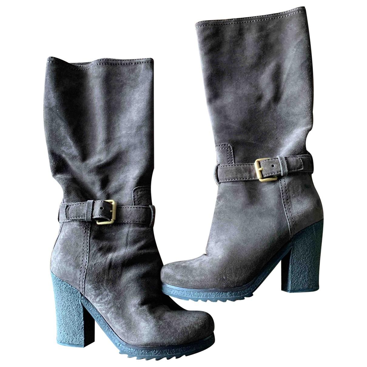 Prada \N Brown Suede Boots for Women 38 EU